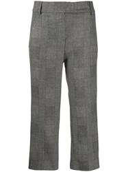 Dondup Cropped Check Trousers Black