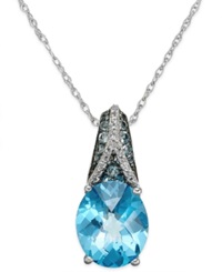 Macy's London Blue Topaz 5 9 10 Ct. T.W. And White Topaz Accent Pendant Necklace In Sterling Silver