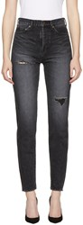Saint Laurent Black Embroidered Torn Slim Fit Jeans