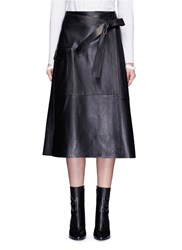 Helmut Lang Lambskin Leather Wrap Midi Skirt Black