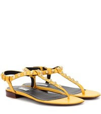 Balenciaga Giant Studded Leather Sandals Yellow