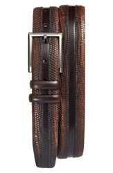 Mezlan Men's Lizard Leather Belt Cognac