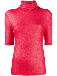 Majestic Filatures Roll Neck Glitter Top Red