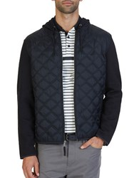 Nautica Mixed Media Quilted Hoodie True Black