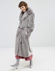 Asos Faux Fur Coat With Oversized Collar And Belt Grey
