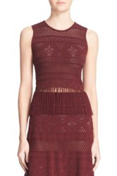 A.L.C. 'Tucker' Crochet Lace Fringed Tank Red