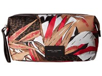 Marc Jacobs Palm Printed Biker Large Cosmetics Landscape Pouch Pink Multi Travel Pouch