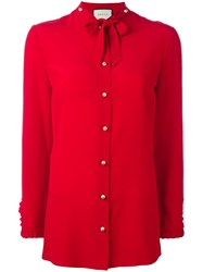 Gucci Ruffle Trim Shirt Red