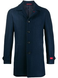 Isaia Logo Patch Single Breasted Coat Blue