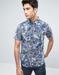Another Influence Fan Print Shirt Navy