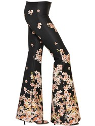 Black Coral Printed Neoprene Flared Leggings