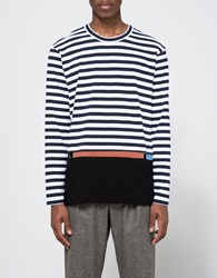 Comme Des Garcons Border Stripe Plain Mix Tee Stripe Mix