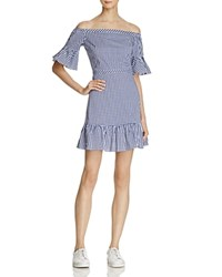 Lucy Paris Heidi Gingham Off The Shoulder Ruffled Dress 100 Exclusive Blue White