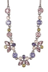 Givenchy Multi Color Floral Crystal Necklace Purple