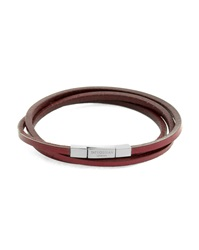 Tateossian Fetuccinni Triple Bracelet 58 Cm In Silver And Red Leather