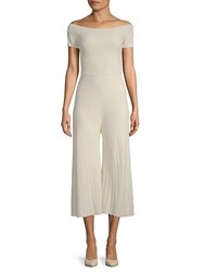 Torn By Ronny Kobo Kristin Off The Shoulder Jumpsuit Ivory