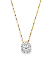 Frederic Sage 18K White And Yellow Gold Firenze Diamond Small Cushion Pendant Necklace 16 White Gold