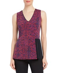 Ellen Tracy Chevron Printed Sleeveless Peplum Top Red