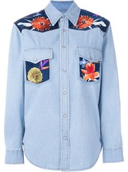 Forte Couture Floral Panel Denim Shirt Blue