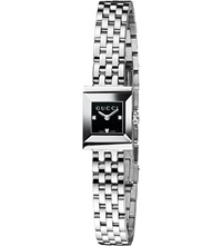Gucci Ya128507 G Frame Collection Stainless Steel And Diamond Watch Black