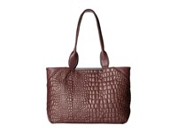 French Connection Monica Tote Biker Berry Quilted Lamb Pu Tote Handbags Brown