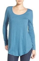 Junior Women's Bp. Scoop Neck Long Sleeve Tee Teal Steel