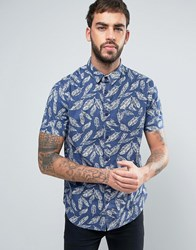 Brave Soul Feather Print Short Sleeve Shirt Navy