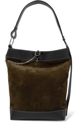 J.W.Anderson Jw Anderson Lock Leather Trimmed Suede Tote Dark Green