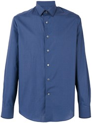 Lanvin Checkered Shirt Men Cotton 40 Blue