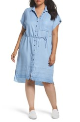 Rebel Wilson X Angels Plus Size Women's Chambray Button Up Shirtdress Seaside