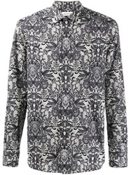 Alexander Mcqueen Lace And Skull Printed Shirt White
