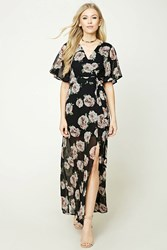 Forever 21 Surplice Floral Maxi Dress Black Blush