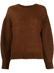 Closed Dropped Shoulder Sweater Brown