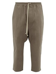 Rick Owens Drawstring Cotton Blend Trousers Grey