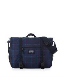 Original Penguin 3D Windowpane Messenger Bag Blue