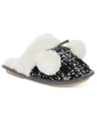 Kensie Sparkle Tweed Pom Pom Slide Slippers Black