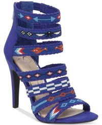 Jessica Simpson Erienne Beaded Strappy Dress Sandals Women's Shoes New Cobalt Blue