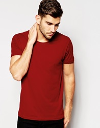 Selected Homme Crew Neck T Shirt In Pima Cotton Red