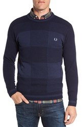 Fred Perry Men's Patchwork Textured Wool Blend Crewneck Sweater