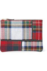 Comme Des Garcons Taped Plaid Wool Pouch Red