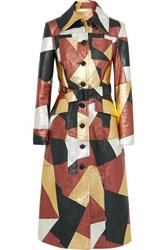 Michael Kors Collection Belted Patchwork Metallic Leather Coat Gold