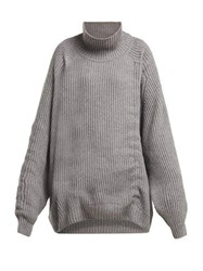 Hillier Bartley Gathered Cashmere Sweater Grey