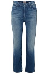 Mother The Dutchie Cropped High Rise Straight Leg Jeans Mid Denim