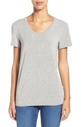 Women's Halogen Modal Jersey V Neck Tee Grey Heather