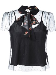 Red Valentino Neck Tie Sheer Blouse Black