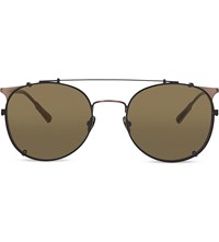 Kris Van Assche Kva69 Curved Brow Combination Aviator Sunglasses Ant Bronze And Black