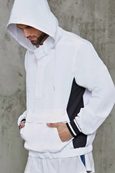Forever 21 Hooded Colorblock Anorak White Black