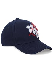 Dsquared Navy Flower Appliqued Twill Cap