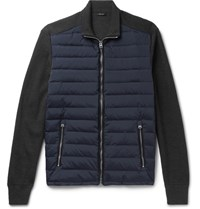 Tom Ford Ribbed Merino Wool And Quilted Shell Down Jacket Navy