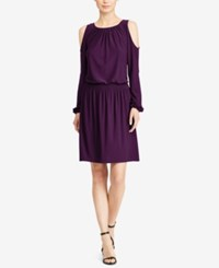 American Living Relaxed Fit Cold Shoulder Dress Purple